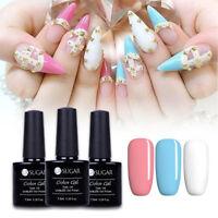 3pcs Pink Blue White Nail Gel Polish UV LED Soak Off Pure Gel Varnish Set Shiny