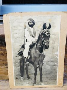 Vintage Old Genuine Indian King Ride Horse Black And White Photograph