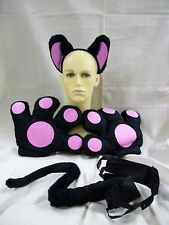 Black Pink Cat Jumbo Costume Paws Tail Ears Cheshire Kitty Cosplay Sassy Panther