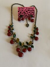 Betsey Johnson RED Cherry Earrings and necklace SET-BJ59114