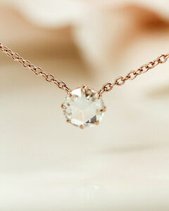 Jewelen Rose Gold Plated 1.50 ct Round Rose Cut Moissanite Pendant Necklace