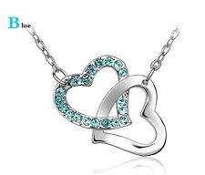 Colgante Doble Corazón entrelazado plateado Estrás Cristal azul turquesa+ cadena