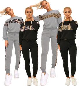 Ladies Plus Loungewear Animal Leopard Print Panel Tracksuit Sweatshrt Jogers Set