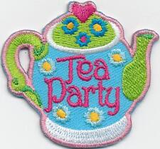 Girl Boy Cub TEA PARTY POT Fun Patches Crest Badges SCOUTS GUIDES Iron On