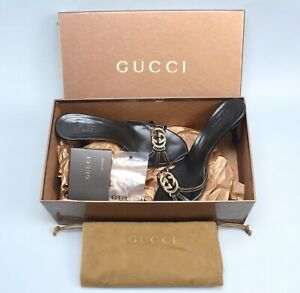 $895 GUCCI Lifford GG Leather Heels Slides Shoes 35.5 US5.5 Made in Italy