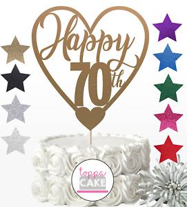 Happy 70th Birthday Cake Topper Seventy Daughter Son Sister Brother glitter