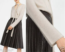 Zara Plissé Jupe Midi Jupe Simili Cuir Faux Leather pleated skirt Cutwork M