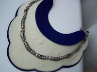 """GORGEOUS VINTAGE SOLID STERLING SILVER MOP MARCASITE COLLAR NECKLACE 16"""" 38G"""