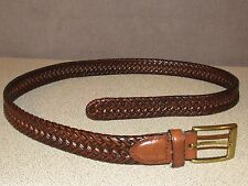 DOCKERS Brown Leather Braided Khaki's Chino's Casual Belt Size 38
