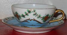 Excellent Antique Hand Painted decor main Limoges France Demitasse Cup Saucer