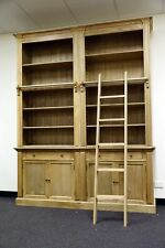 Two Bay French Provincial Style Library Bookcase with Ladder