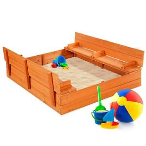 Kids Cedar Sandbox 47 X 47 Inch With Sand Screen And 2 Benches Split Cover Brown