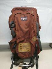 Jansport Vintage Large BackPack USA Nylon Leather Bottom Hiking Copper Brown