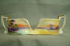 vintage Japanese Noritake M spoon holder caddy hand painted purple yellow gold