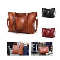 Ladies Large Women Leather Shoulder Bag Designer Faux Handbag Plain Tote Handbag