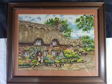 """'Thatched Cottage Village Scene' Completed Cross Stitch Framed 23"""" x 19"""""""