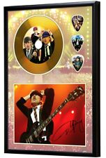 Angus Young AC/DC Gold  CD, Autograph & Plectrum Display