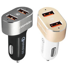 New listing Qc3.0 3A Dual Usb Cell Phone Fast Charging Car Charger Adapter Cigarette Lighter