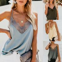 Women Silk Satin Camisole Plain Strappy Vest Ladies Sleeveless Blouse Tank Top G