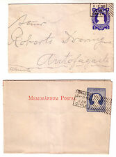 CHILE - 1903 LOT OF TWO USED 5 CTS COLUMBUS STATIONERY FORMS.
