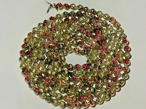 """Vtg Mercury Glass Bead Feather Tree Xmas Garland Double Indent 96"""" NO SPACERS"""