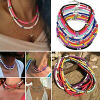 Polymer Clay Boho Choker Necklace 6mm Beaded Round Colorful Flat Women Jewellery