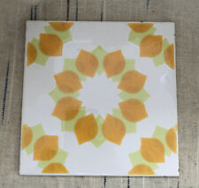 Vintage 1970's Tile Orange And Lime Green Eight Pieces