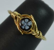 Georgian 15ct Gold Floral Hardstone Cameo Forget Me Not Ring t0666