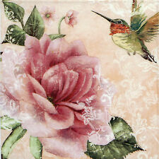 4x Paper Napkins for Decoupage Hummingbird Pink