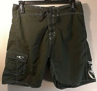 O'Neill Men's Olive Green & White Accents Boardshorts Size 36 Very Nice Swimsuit