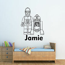 Star Wars - R2D2 & C3P0  Personalised Boys/Girls Childrens Wall Sticker Decal,
