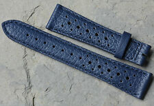 Blue 19mm nicely textured Swiss vintage watch leather rally band NOS 1960/70s
