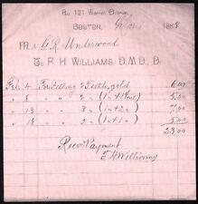 1888 Gold Fillings Teeth Dentist P H Williams D M D Boston Letter Head Dental