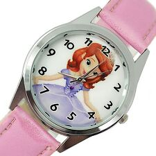SOFIA THE FIRST PRINCESS PINK LEATHER DVD FILM MOVIE GIRL FAIRY TALE STEEL WATCH