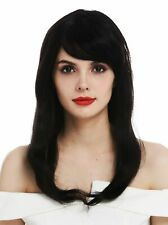 Ladies' Wig Human Hair Black Lace-Front Monofilament Long Smooth Wig