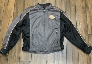 Harley-Davidson Gray Mesh Padded Armor Motorcycle Jacket Men's  98225-06VM M