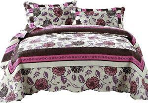 DaDa Purple Blooms Floral Bedding Bohemian Pink Brown Coverlet Bedspread Set