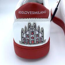 NIB $670 DOLCE & GABBANA Men's Milano Red White Leather Sneakers EU 40 US 7