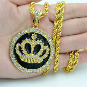 Men'S 18K Gold Round Crown Franco Inlay Rhinestone Pendant Necklace Jewelry
