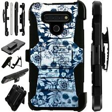 Luxguard For LG Phone Case Holster Kickstand Cover SKULL FLOWER