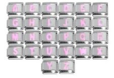 PINK Letter choice of A-Z Italian Charm -Fits 9mm classic Italian charm bracelet