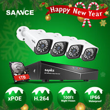 SANNCE 2MP 1080P POE 4CH NVR Outdoor CCTV Security Camera System IP Network 1TB