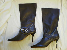 Ladies LOGO 69 Brown Leather Pull On Summer Mid Calf Boots New Size 5 UK 5 eu 38