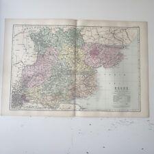 c1889 Essex British Isles Map Bacon Antique Vgc