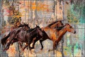 Horse Tile Mural Agata & Hector Equine Art Ceramic Backsplash OB-AGA52
