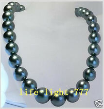 Stunning AAA 12-13mm Tahitian round black pearl necklace 18 INCH 14K gold clasp