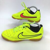 Nike Boys JR Tiempo Rio II IC Soccer Shoes Green Low To Lace up 631526-770 6Y