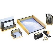 Schreibtischset 5-teilig Naturholz mit schwarzen Metallteilen von Rumold
