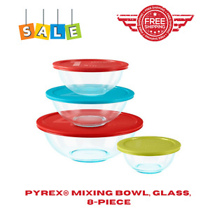8-Piece Glass Mixing Bowls With Lids Pyrex Microwave Safe BPA Free Non Porous