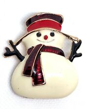 SNOWMAN christmas fashion party brooch rhinestones jewelry gold tone gift #14